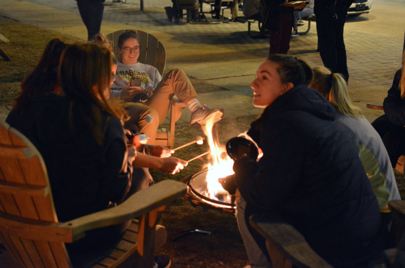 The Homecoming bonfire kickoff gave everyone a chance to get cozy on a cool winter night.