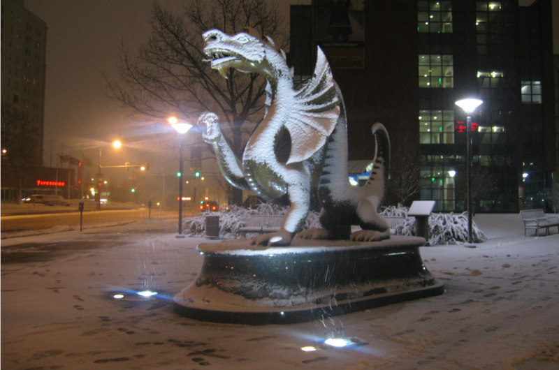 Mario the Dragon in a snowstorm.