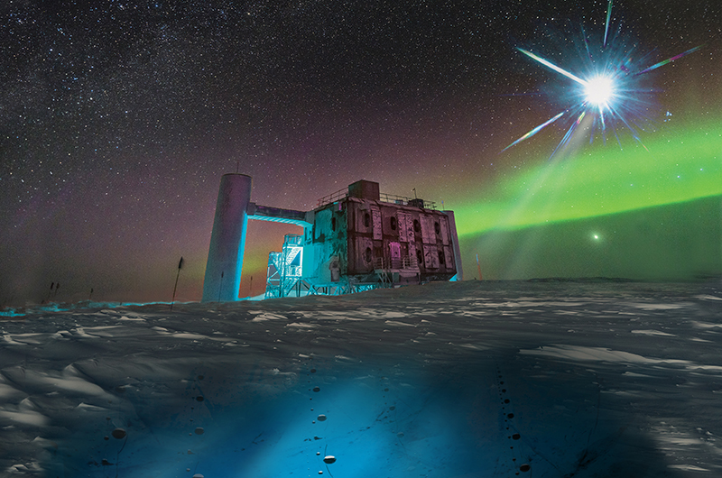 An artist's rendering of a blazer shooting neutrinos down to sensors at the IceCube facility in Antarctica