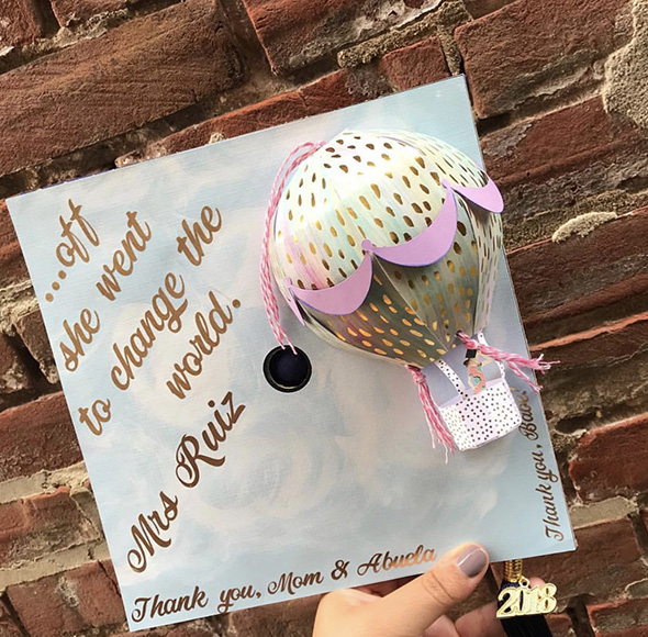 The graduation cap that took the second-place prize was decorated by Ebony Ruiz, a general studies major with a focus in education in the Goodwin College of Professional Studies.