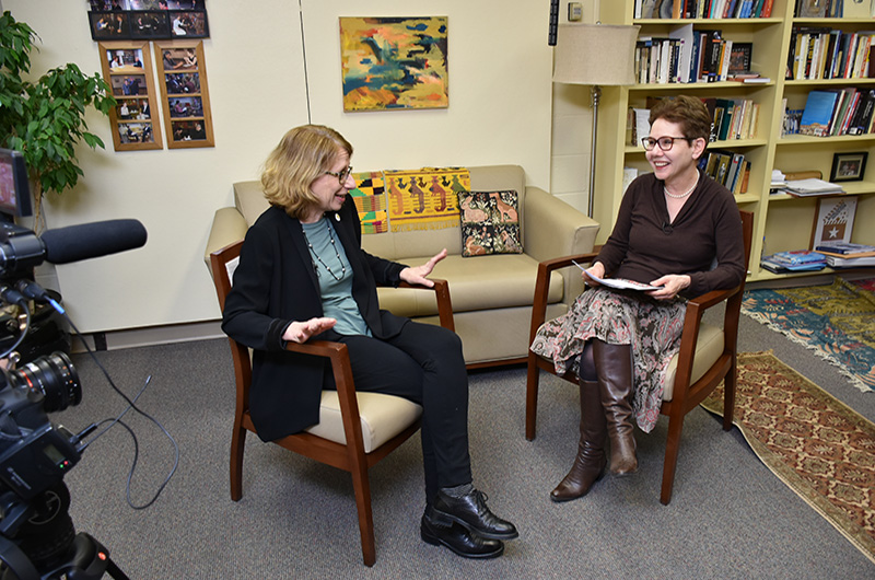 "Roz Chast, left, and Dean Paula Marantz Cohen during the filming of an episode for ""The Drexel InterView."""