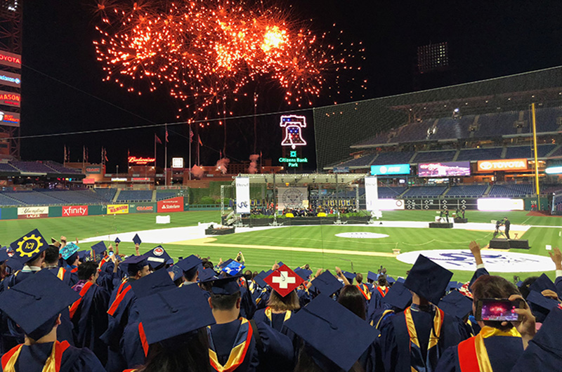 The 2018 University-wide commencement ceremony ended with fireworks.