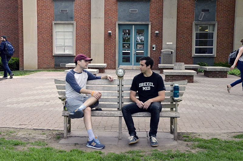 John McCormick and Ryan Rothman on Drexel's Queen Lane campus.