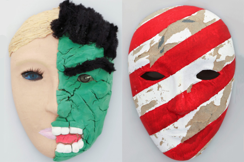 One mask depicting half of a normal face and another looking like the Hulk, and another with no mouth and faded red and white stripes