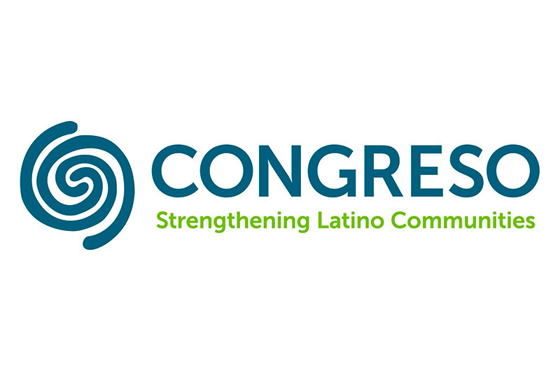 "The logo of Congress featuring its tagline, ""Strengthening Latino Communities."""