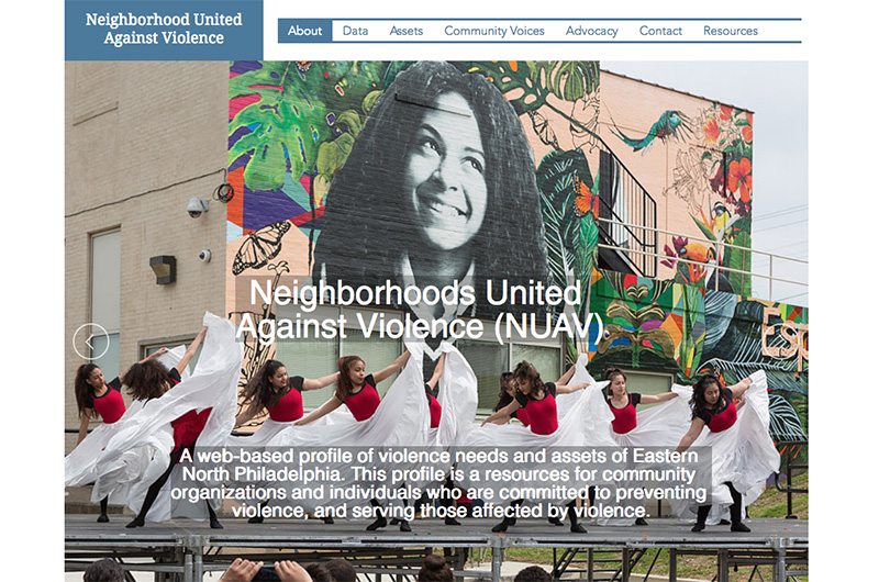 The homepage of NUAVNow.org featuring a mural found in North Philadelphia and some dancers in front of it.