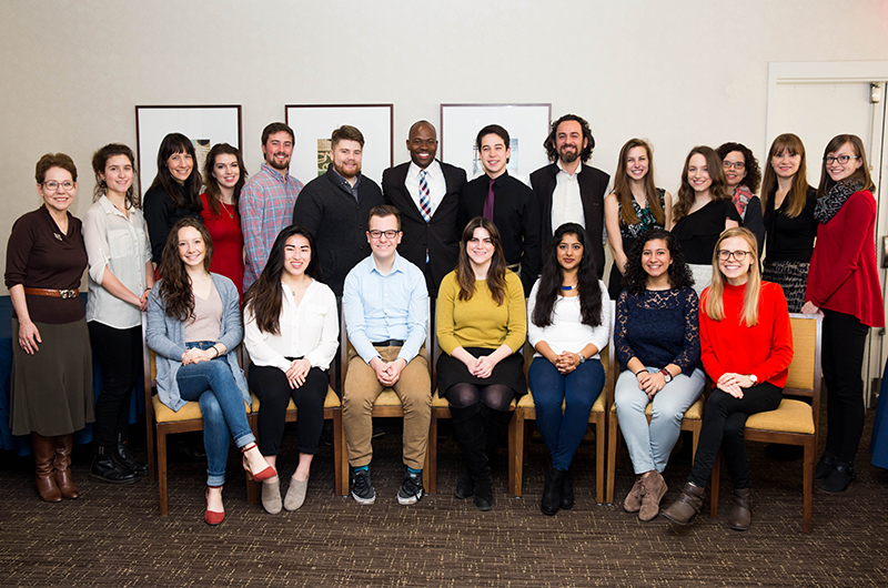 Back row, left to right: Dean Cohen, Amy Gottsegen, Kelly Weissberger (Associate Director, CSD), Ashleigh Jugan, Nicholas Barber, Vincent O'Leary, Provost Blake, Riki McDaniel, Ian Nichols, Caitlin Walczyk, Sam Buczek, Meredith Wooten (Director, CSD), Dean Van Bockstaele, Martha Meiers (Program Coordinator, CSD). Front row, left to right: Caitlin Cooper, Ana Monastero, Jacob Baron, Dylan O'Donoghue, Marina D'souza, Gabrielle Salib, Emily Coyle (Fellowships Advisor, CSD). Photo credit Jordan Stein.