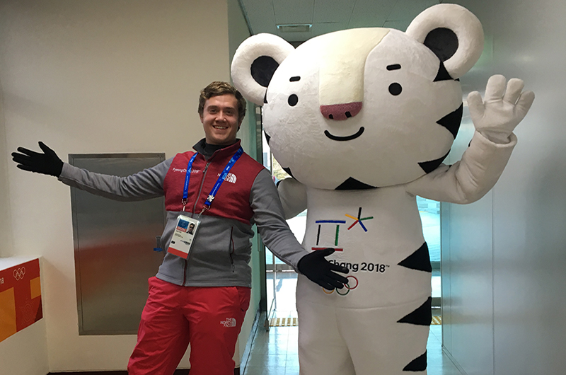 Ryan Roe with Soohorang, the mascot of the 2018 Winter Olympics.