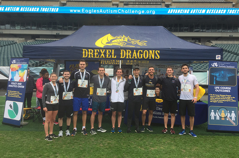 Drexel students who participated in last year's Eagles Autism Challenge event.