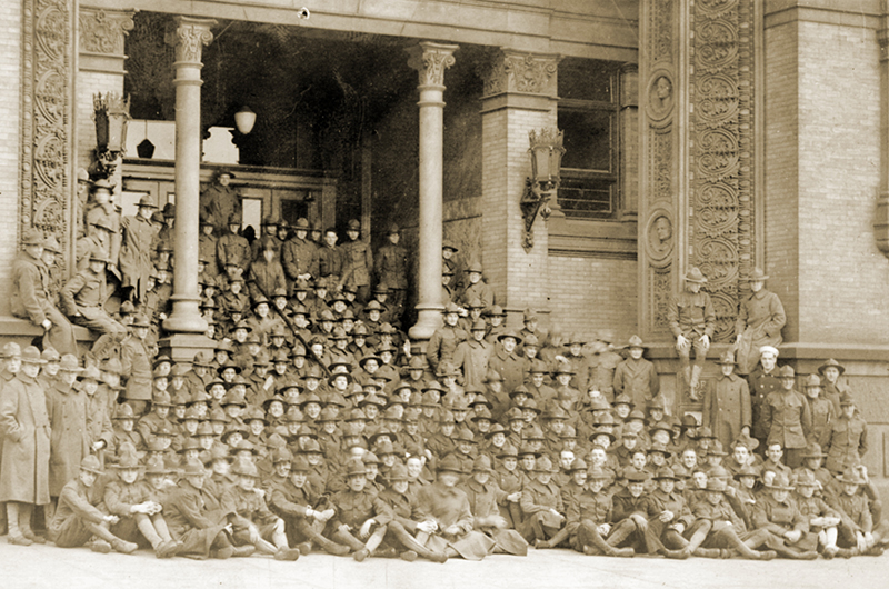 The Students Army Training Corps (SATC) allowed men to both enlist in the military and enroll in college in the fall of 1918. This photograph shows Drexel's SATC unit gathered on the steps of the Main Building. Photo courtesy Drexel University Archives.