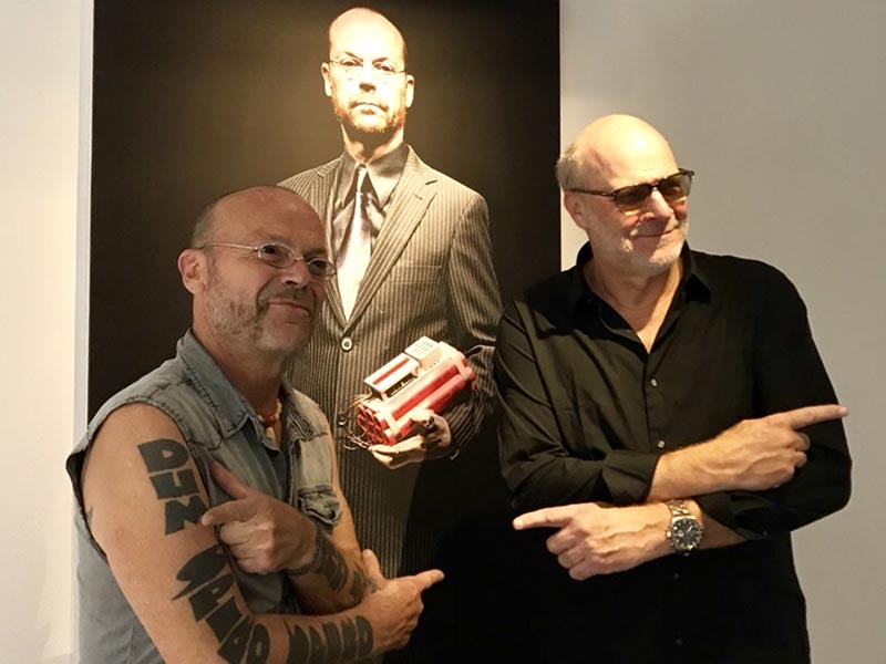 Austrian artist Wolfgang Flatz (pictured with Eric Zillmer), world-famous for his provocative action art, has his own museum in Dornbirn and we were lucky to find him in attendance during a gallery reception.