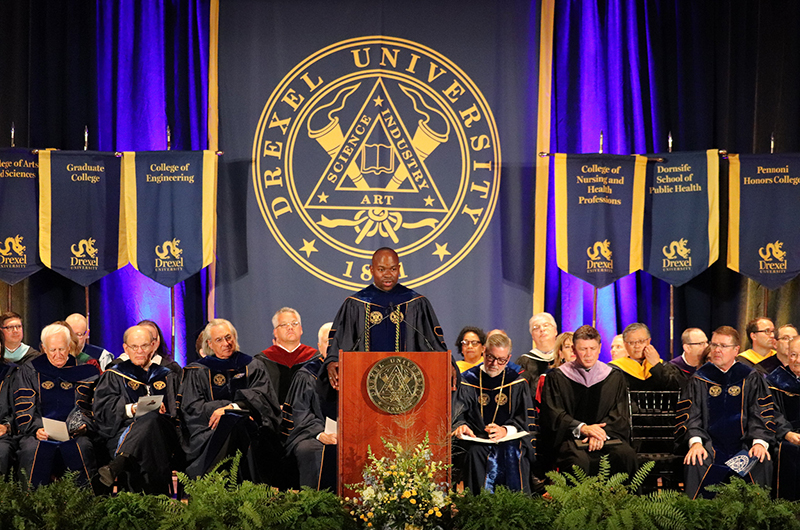M. Brian Blake, PhD, executive vice president and the Nina Henderson Provost, speaking at the 2018 Convocation.