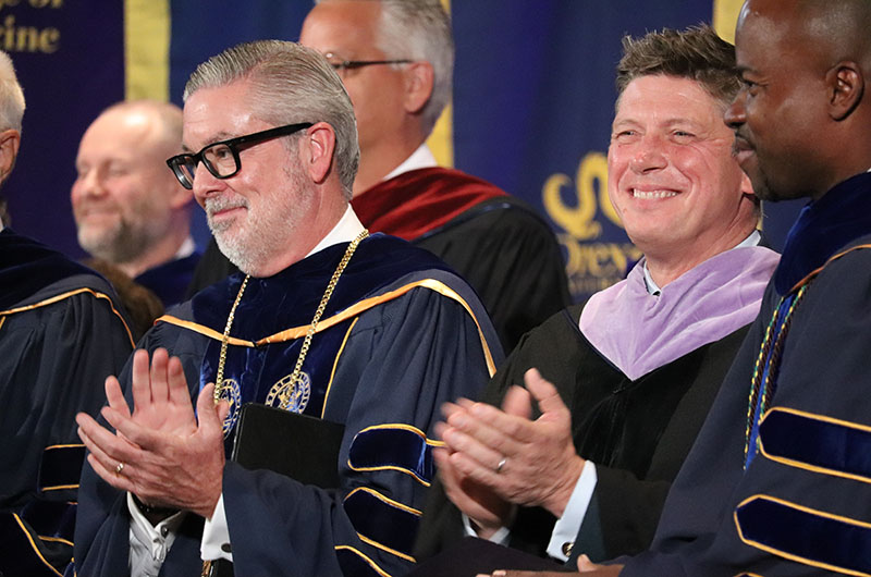 Left to right: Drexel President John Fry; Academy of Natural Sciences President Scott Cooper, PhD; and M. Brian Blake, PhD, executive vice president and the Nina Henderson Provost at Drexel.
