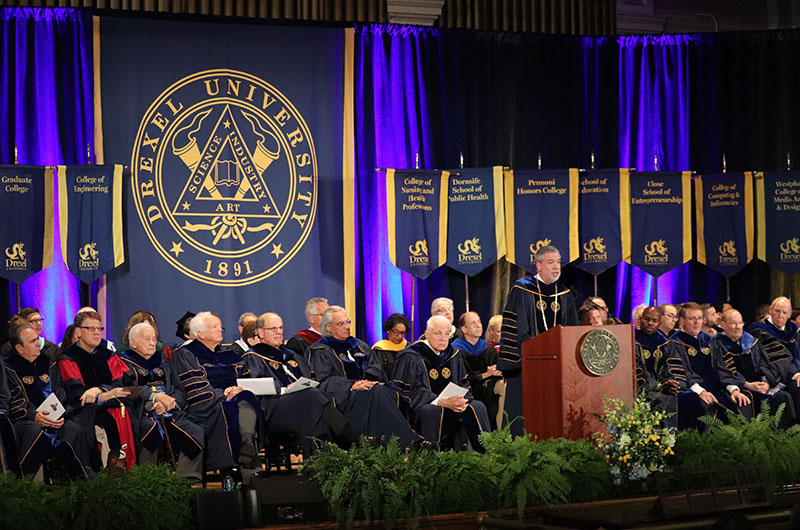 Drexel President John Fry speaking at the University's 2018 Convocation.