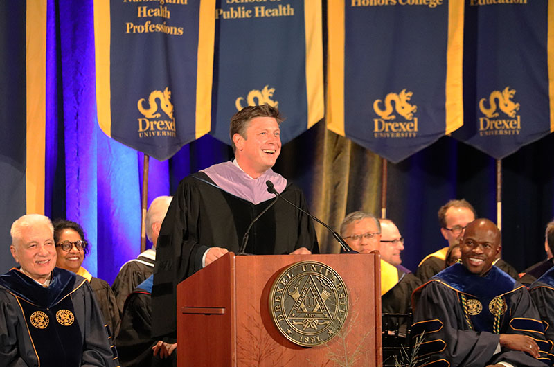 Academy of Natural Sciences President Scott Cooper, PhD, speaking at the University's 2018 Convocation.