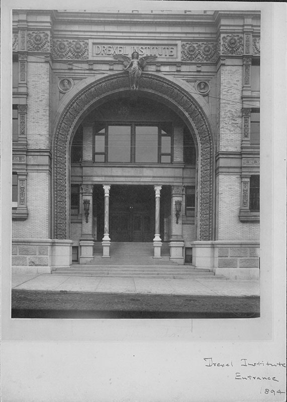 The Chestnut Street entranceway of today's Main Building photographed in 1894. Photo courtesy of Drexel University Archives.