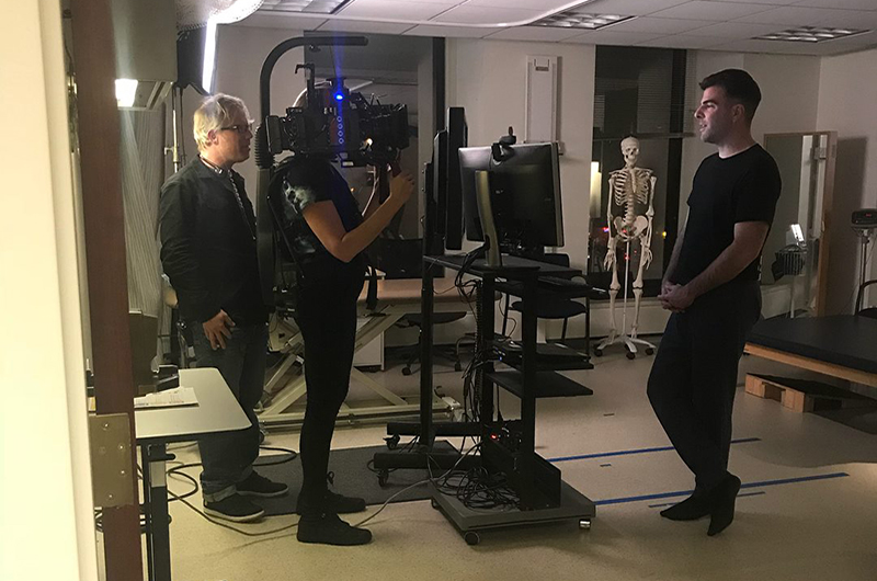 "Actor and ""In Search Of"" host Zachary Quinto filming at Drexel's College of Nursing and Health Professions' research lab facilities."