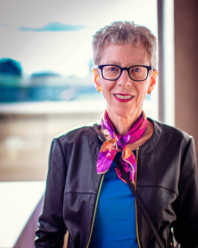 Terry Gross poses for a portrait at Drexel University to a sold-out audience in the Mandell Theater on April 10. Her talk was titled 'Off Air With Fresh Air.'