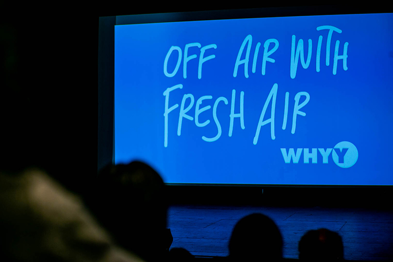 Terry Gross speaking at Drexel University to a sold-out audience in the Mandell Theater on April 10. Her talk was titled 'Off Air With Fresh Air.'