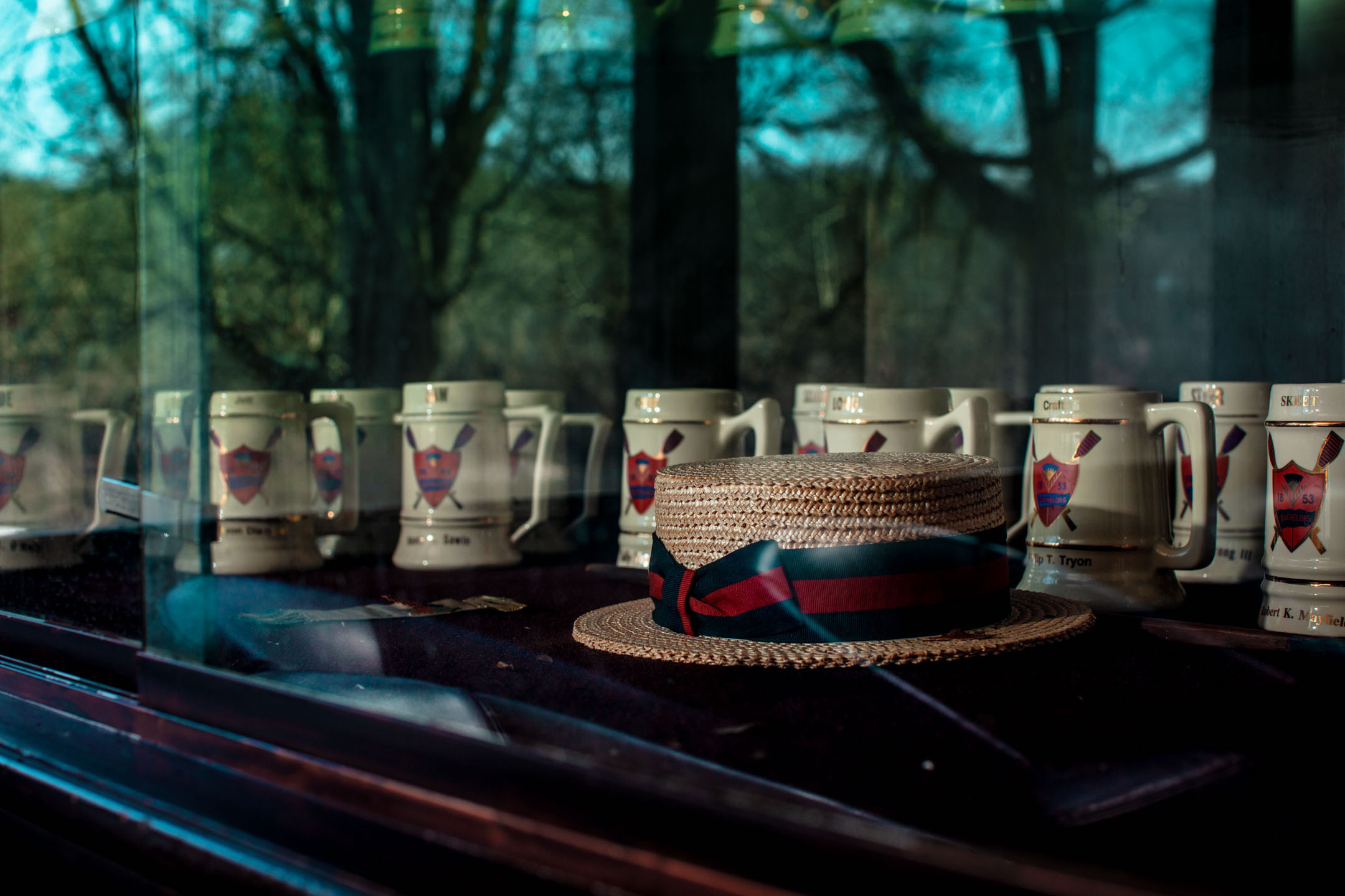 The drinking mugs of deceased Bachelors Barge Club members are displayed at the end of the porch area of the Button.