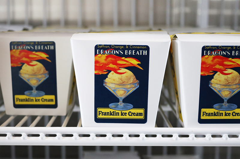 """Dragon's Breath"" pints in the freezer at the Franklin Ice Cream Bar. Photo credit: The Franklin Fountain."