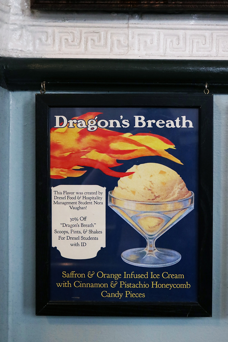 "A sign for ""Dragon's Breath"" in the Franklin Fountain. Photo credit: The Franklin Fountain."