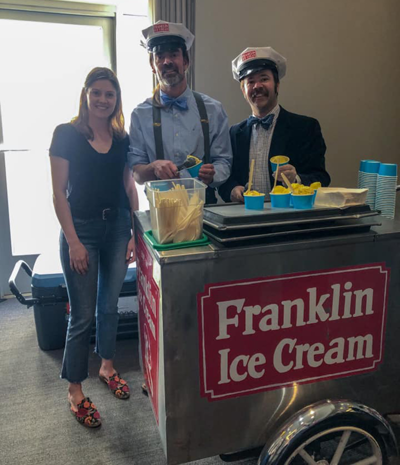 Left to right: Nora Vaughan, Ryan Berley and Eric Berley at the April 10 giveaway. Photo credit: Drexel's Center for Food & Hospitality Management.