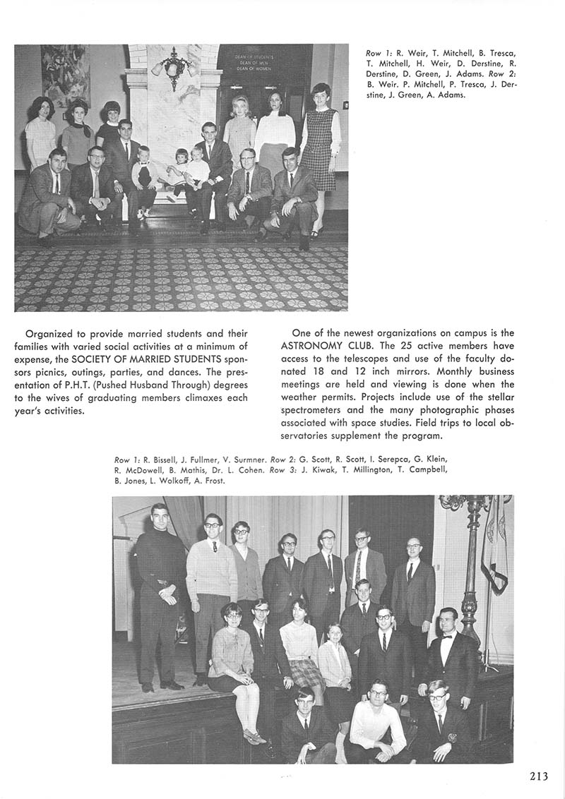The Astronomy Club featured in Drexel's 1968 yearbook. Photo courtesy Drexel University Archives.