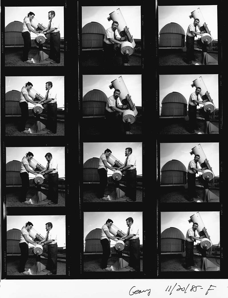 A contact sheet of photos from a 1985 photo shoot featuring Leonard R. Cohen, PhD, and a student in front of the observatory with a telescope. Photo courtesy Drexel University Archives.