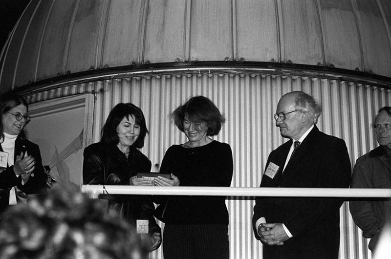 Joseph R. Lynch was unable to attend the 2003 ceremony, but his daughters Carol Chaney and Susan Wright did. They are pictured, center, with College of Arts and Sciences Dean Donna Murasko, PhD, (left) and then-Department of Physics head Michel Vallières, PhD. Photo courtesy Kenneth H. Goldman.