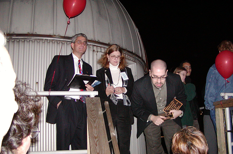 Senior Associate Vice President of Presidential Initiatives Kenneth H. Goldman (left) with College of Arts and Sciences Dean Donna Murasko, PhD, (center) and Dave Goldberg, PhD (right) at the observatory's dedication ceremony in 2003. Photo credit: Maryann Fitzpatrick. Photo courtesy Wolfgang Nadler.