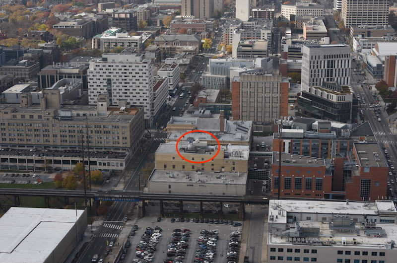 A 2014 aerial photograph of Drexel's University City Campus, with the observatory circled in red.