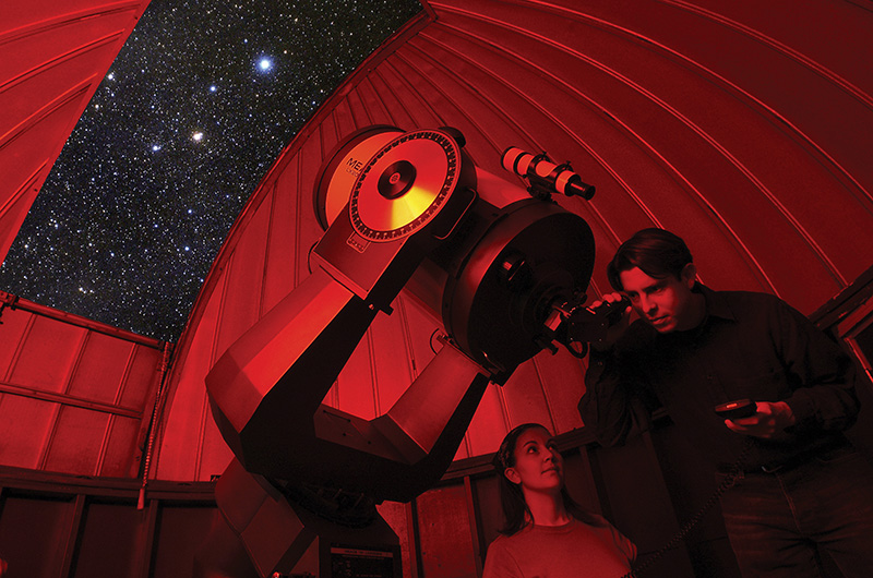 An edited photo of the Joseph R. Lynch observatory.