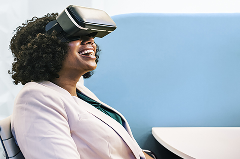 woman wearing virtual reality gear