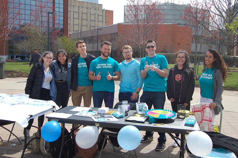 "Drexel University students participating in ""Teal Tuesday,"" which are recognized annually in April for National Sexual Assault Awareness Month."