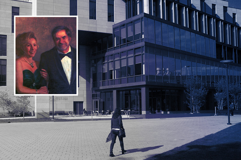 The LeBow Engineering Center is named for Bennett S. LeBow '60, HD '98. The Gerri C. LeBow Hall (pictured) is named in honor of his wife, Geraldine C. LeBow.