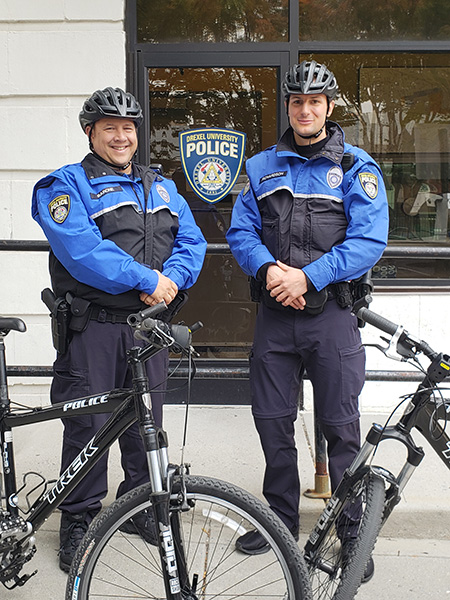 The Drexel Police Bike Patrol Unit is here to help you. Give a wave next time you see them. Pictured here: Charlie Barone (left) and Matt Richardson (right).