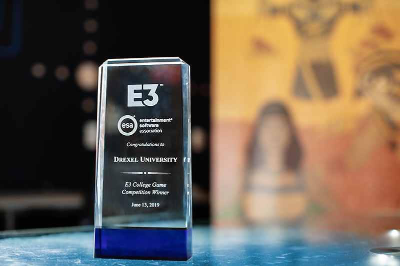 The E3 College Game Competition trophy. Photo credit: Charles Shan Cerrone.