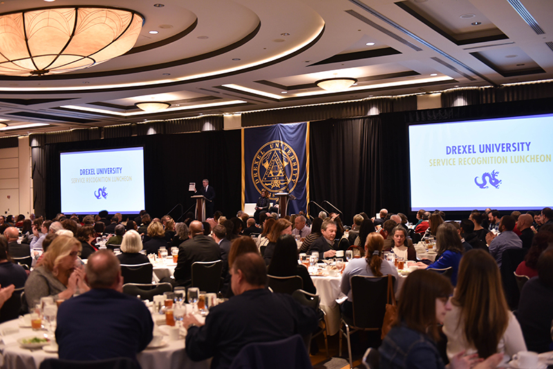 Drexel University President John Fry addressed faculty and staff at the annual service recognition luncheon held Dec. 6.