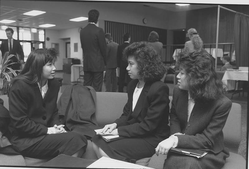 An undated photo of students waiting to be interviewed on campus for co-op. Photo courtesy University Archives.
