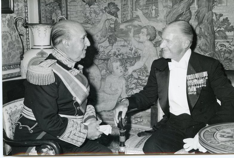 Anthony J. Drexel Biddle, Jr. in the Palacio Reale, Madrid Spain, after the ceremony of presenting his credentials to Generalissimo Franco, January 1961.