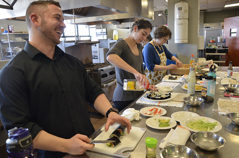 Five students from the Center for Food and Hospitality Management created, and ate, their own sushi at a special demonstration.