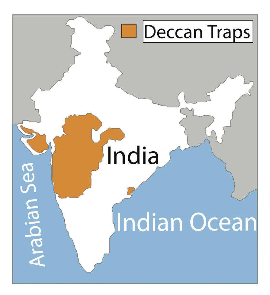 Location map outlining exposed area of the Deccan Traps in modern day India. Image credit, Courtney Sprain.