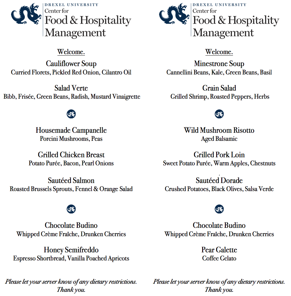 Sample menus from the Academic Bistro's lunch service.