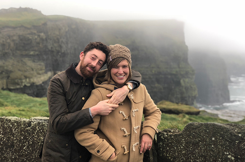 Jeff Apruzzese and his wife Paige Holbrook at the Cliffs of Moher from a trip to Ireland over the winter break.