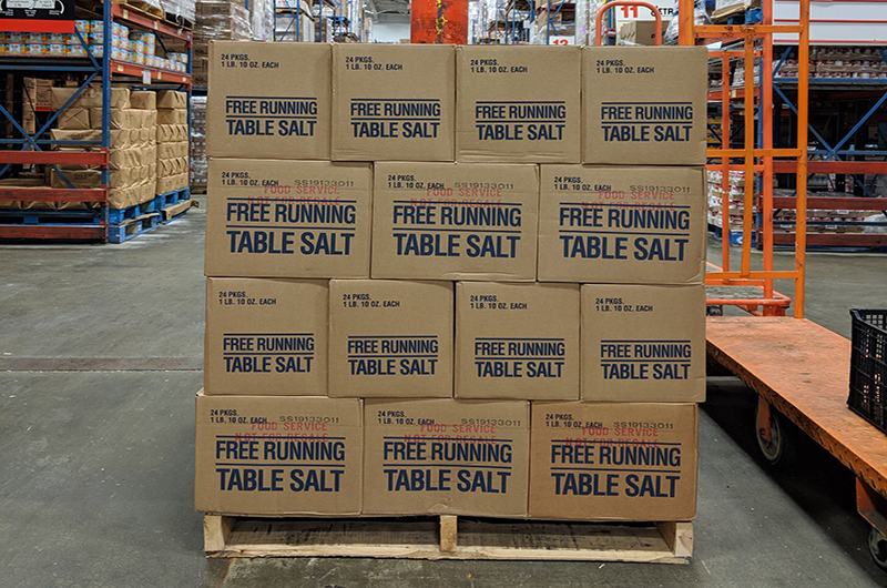 Pallet holding 48 boxes of 1 pound 10 ounces of table salt