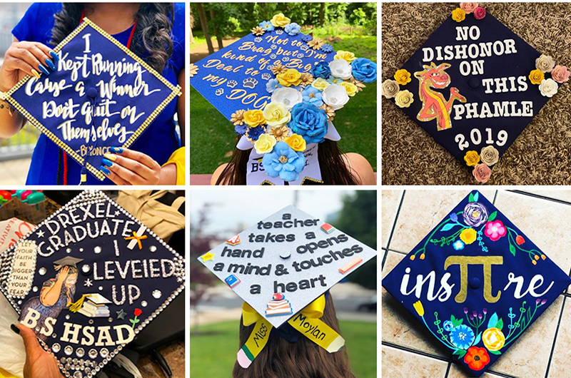 Some of the commencement cap contest entries.