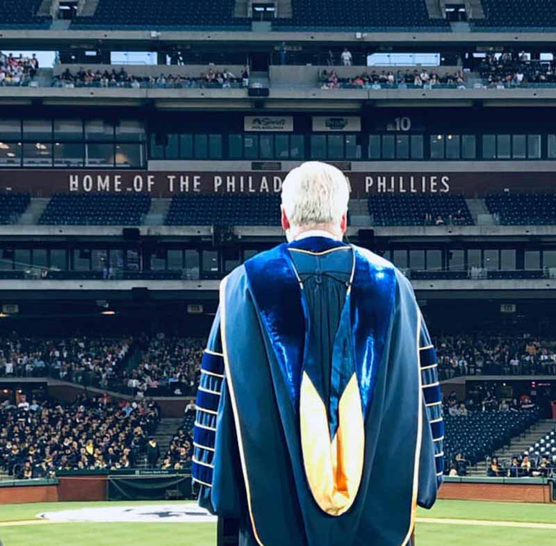 Drexel President John Fry addressed graduates and their families at the park, imploring Dragons to become global citizens of the world.
