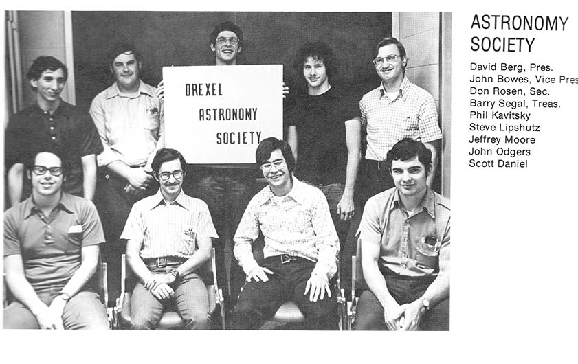 A photo of the Drexel Astronomy from the University's 1975 yearbook, courtesy of Drexel University Archives.