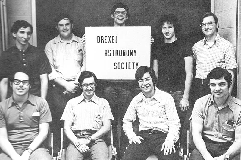 A photo of the Drexel Astronomy from the University's 1975 yearbook, courtesy of Drexel Archives.